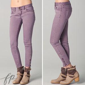 Free People Millenium Cropped Violet Skinny Jeans